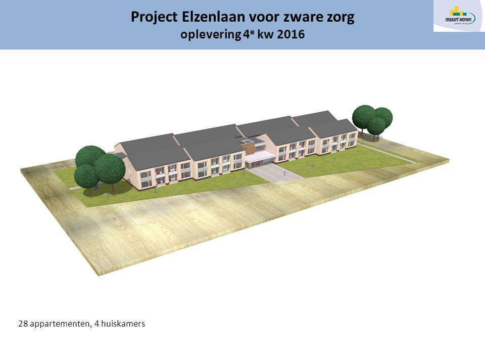 Gereed 2016 Project Elzenlaan voor zware zorg oplevering 4 e kw 2016 28 appartementen, 4 huiskamers