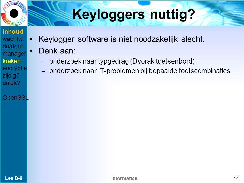 informatica Keyloggers nuttig. Keylogger software is niet noodzakelijk slecht.