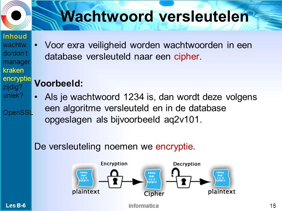 informatica Wachtwoord versleutelen Voor exra veiligheid worden wachtwoorden in een database versleuteld naar een cipher.