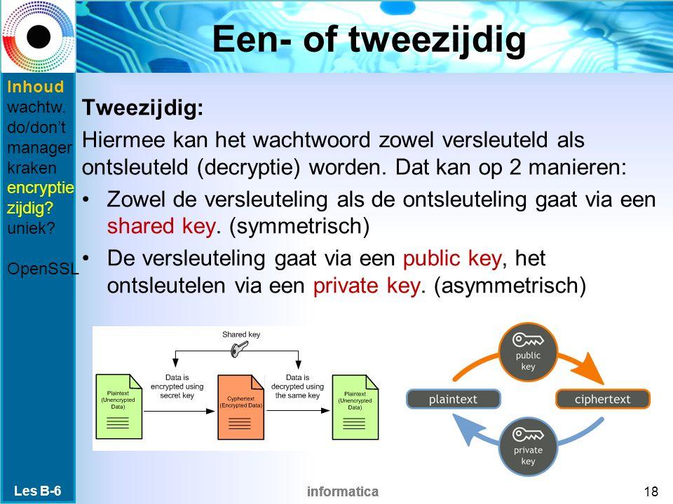 informatica Een- of tweezijdig Tweezijdig: Hiermee kan het wachtwoord zowel versleuteld als ontsleuteld (decryptie) worden.