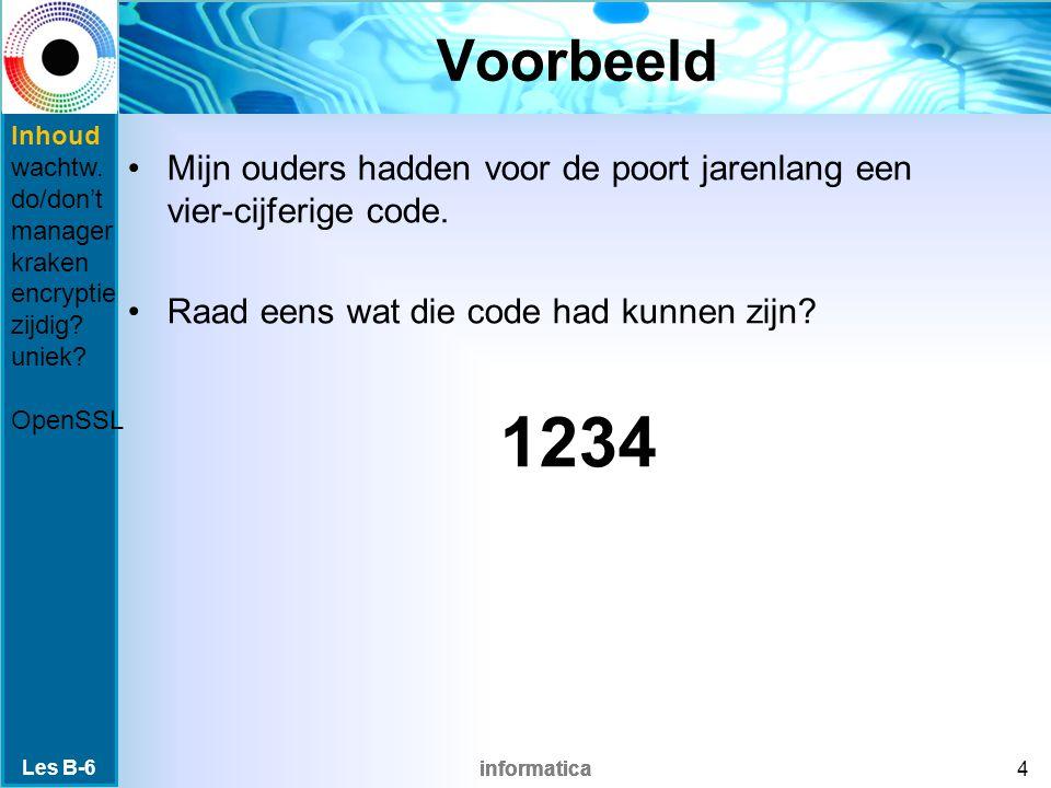 informatica Meest gebruikte wachtwoorden 1.123456 2.