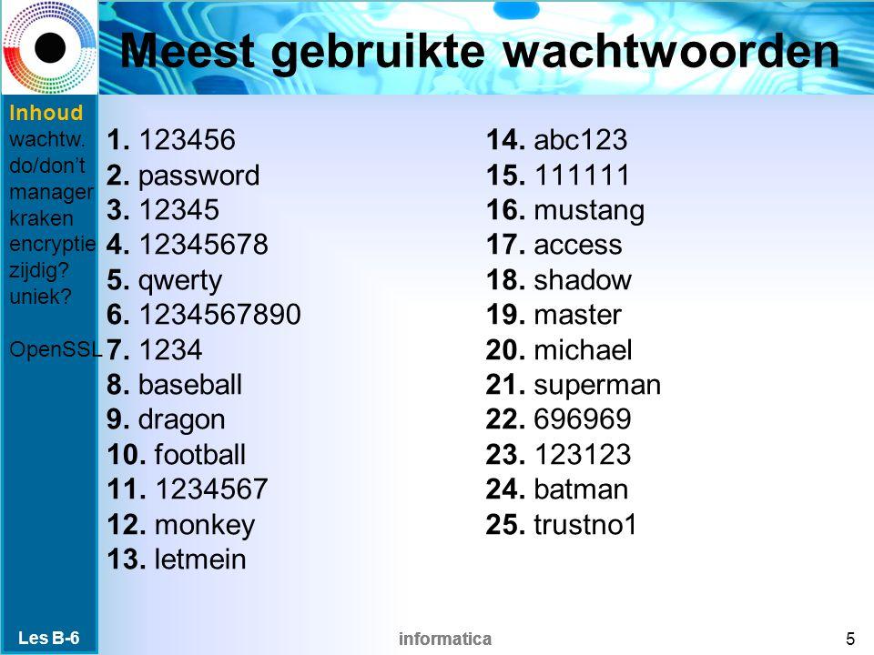 informatica Meest gebruikte wachtwoorden 1. 123456 2.