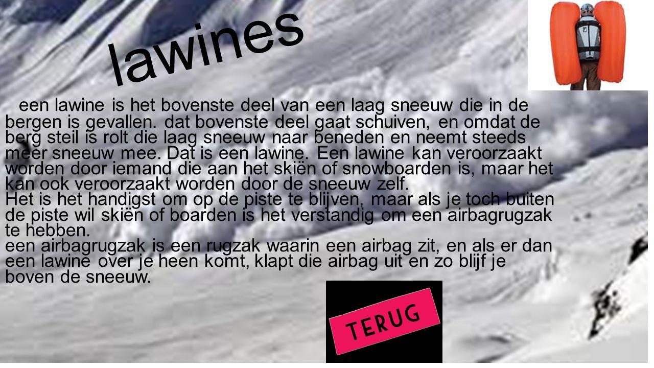 lawines een lawine is het bovenste deel van een laag sneeuw die in de bergen is gevallen. dat bovenste deel gaat schuiven, en omdat de berg steil is r