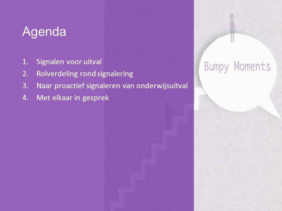 Agenda 1.Signalen voor uitval 2.Rolverdeling rond signalering 3.Naar proactief signaleren van onderwijsuitval 4.Met elkaar in gesprek