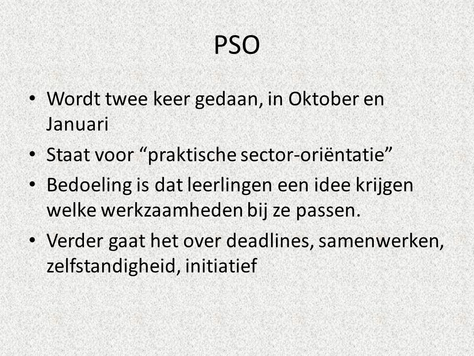 PSO Wordt twee keer gedaan, in Oktober en Januari Staat voor praktische sector-oriëntatie Bedoeling is dat leerlingen een idee krijgen welke werkzaamheden bij ze passen.