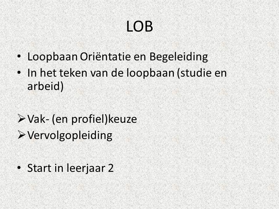 LOB Loopbaan Oriëntatie en Begeleiding In het teken van de loopbaan (studie en arbeid)  Vak- (en profiel)keuze  Vervolgopleiding Start in leerjaar 2