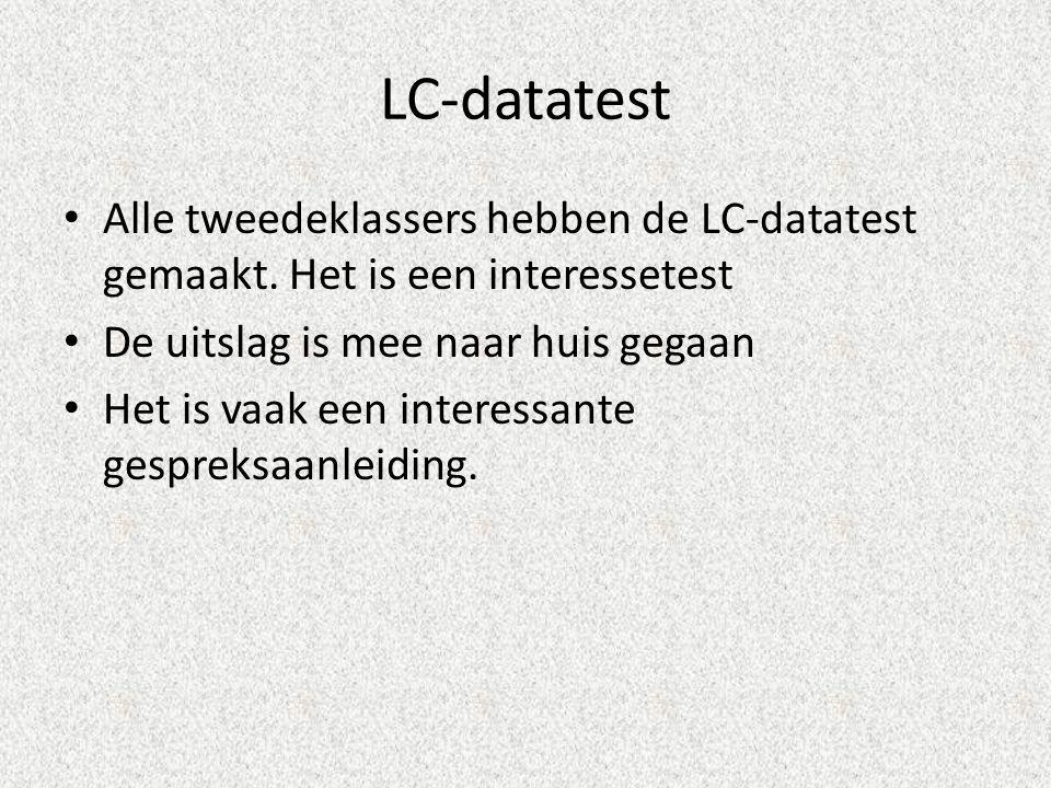 LC-datatest Alle tweedeklassers hebben de LC-datatest gemaakt.