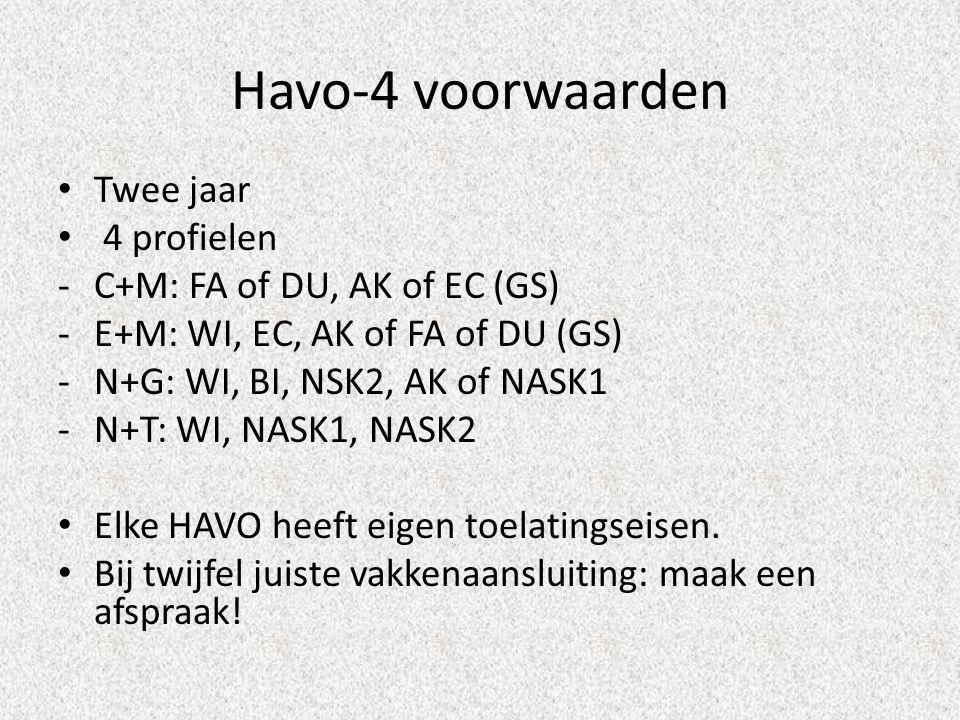Havo-4 voorwaarden Twee jaar 4 profielen -C+M: FA of DU, AK of EC (GS) -E+M: WI, EC, AK of FA of DU (GS) -N+G: WI, BI, NSK2, AK of NASK1 -N+T: WI, NASK1, NASK2 Elke HAVO heeft eigen toelatingseisen.