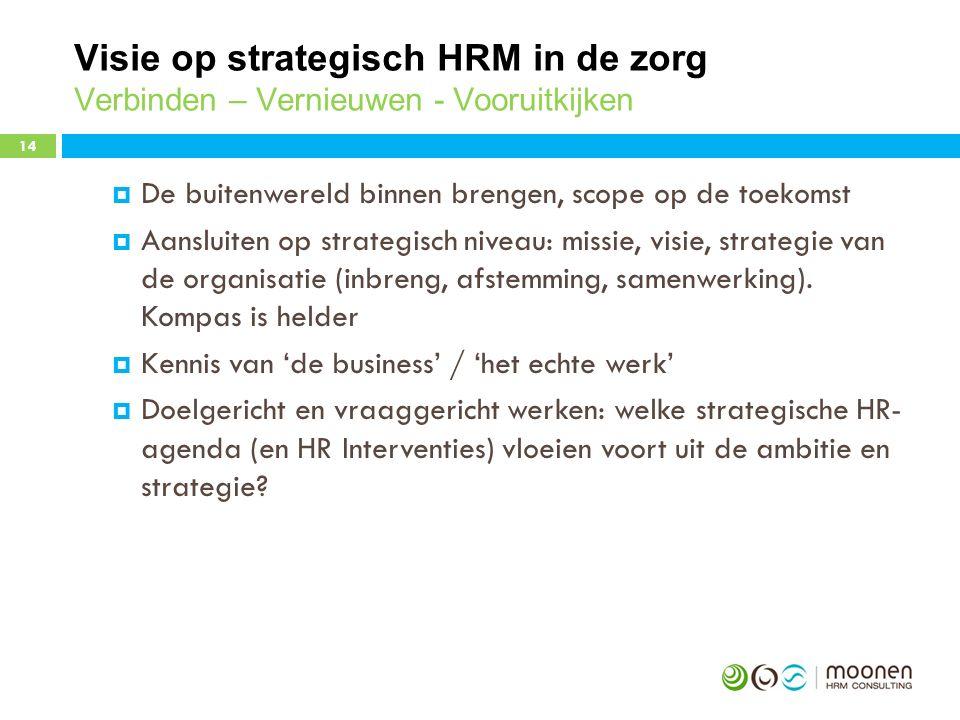 Visie op strategisch HRM in de zorg Verbinden – Vernieuwen - Vooruitkijken  De buitenwereld binnen brengen, scope op de toekomst  Aansluiten op strategisch niveau: missie, visie, strategie van de organisatie (inbreng, afstemming, samenwerking).