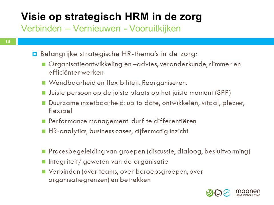 Visie op strategisch HRM in de zorg Verbinden – Vernieuwen - Vooruitkijken  Belangrijke strategische HR-thema's in de zorg: Organisatieontwikkeling en –advies, veranderkunde, slimmer en efficiënter werken Wendbaarheid en flexibiliteit.