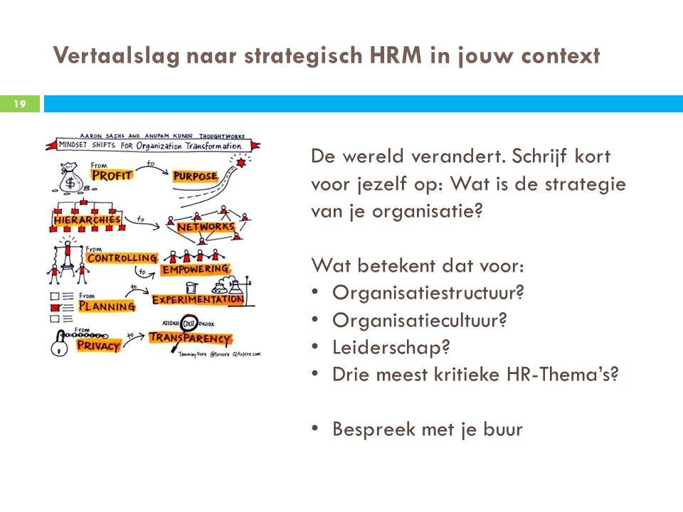 Vertaalslag naar strategisch HRM in jouw context 19 De wereld verandert.