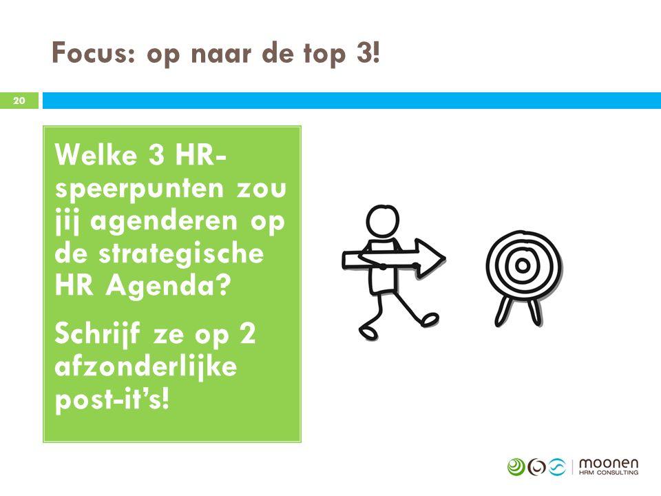 Focus: op naar de top 3.20 Welke 3 HR- speerpunten zou jij agenderen op de strategische HR Agenda.