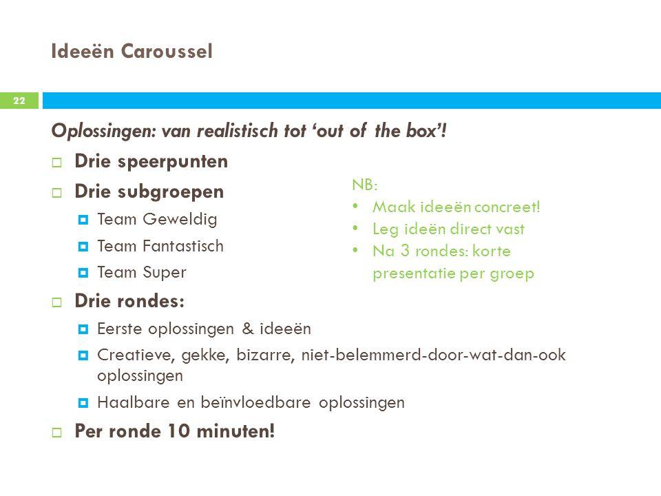 Ideeën Caroussel Oplossingen: van realistisch tot 'out of the box'.