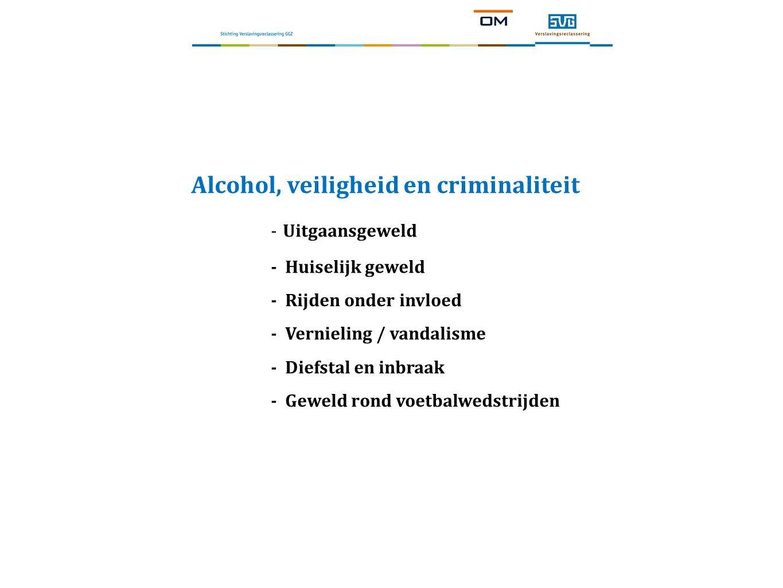 Alcohol, veiligheid en criminaliteit - Uitgaansgeweld - Huiselijk geweld - Rijden onder invloed - Vernieling / vandalisme - Diefstal en inbraak - Geweld rond voetbalwedstrijden