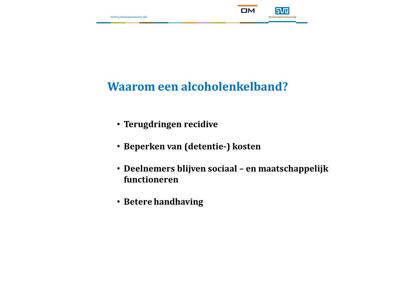Waarom een alcoholenkelband? Terugdringen recidive Beperken van (detentie-) kosten Deelnemers blijven sociaal – en maatschappelijk functioneren Betere