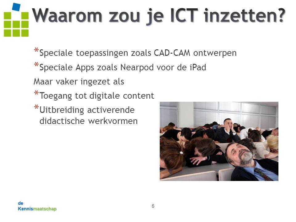de Kennismaatschap 5 * Speciale toepassingen zoals CAD-CAM ontwerpen * Speciale Apps zoals Nearpod voor de iPad Maar vaker ingezet als * Toegang tot digitale content * Uitbreiding activerende didactische werkvormen