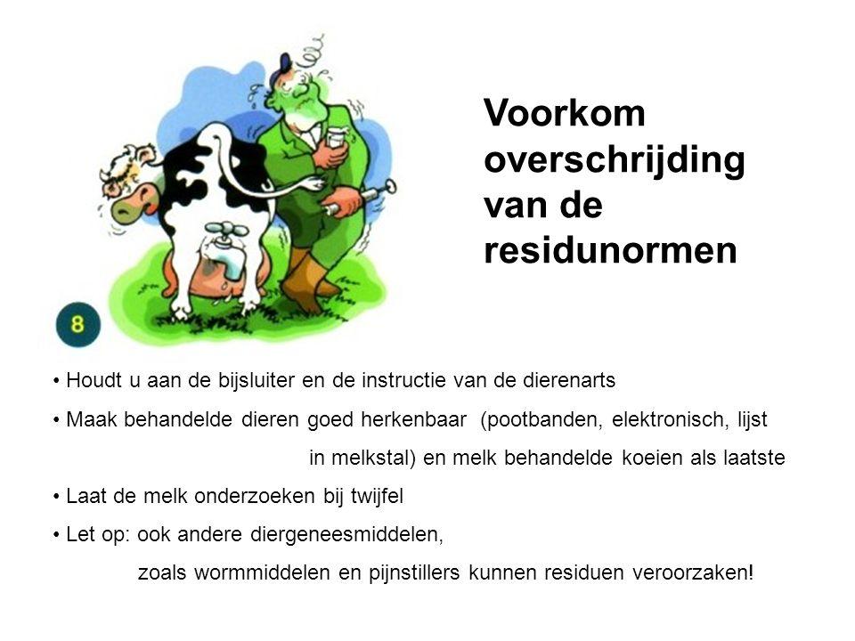 Houdt u aan de bijsluiter en de instructie van de dierenarts Maak behandelde dieren goed herkenbaar (pootbanden, elektronisch, lijst in melkstal) en m