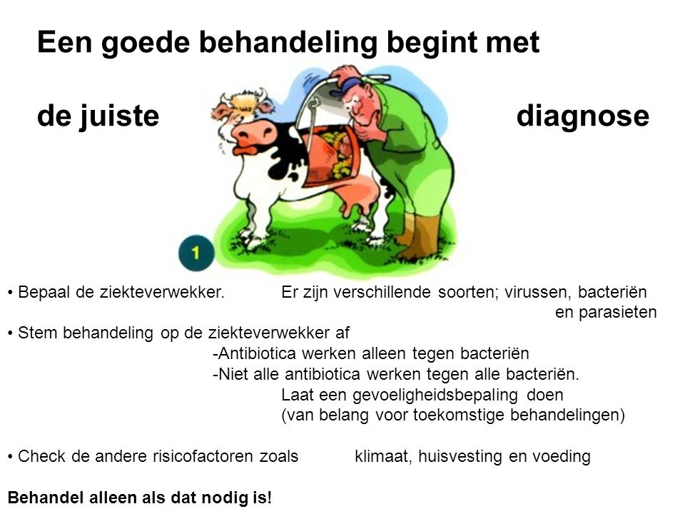 Controleer het REG NL nummer Lees en bewaar de bijsluiter Houdt u aan het bedrijfsbehandelplan of overleg met uw dierenarts over het in te zetten middel Gebruik alleen geregistreerde diergeneesmiddelen