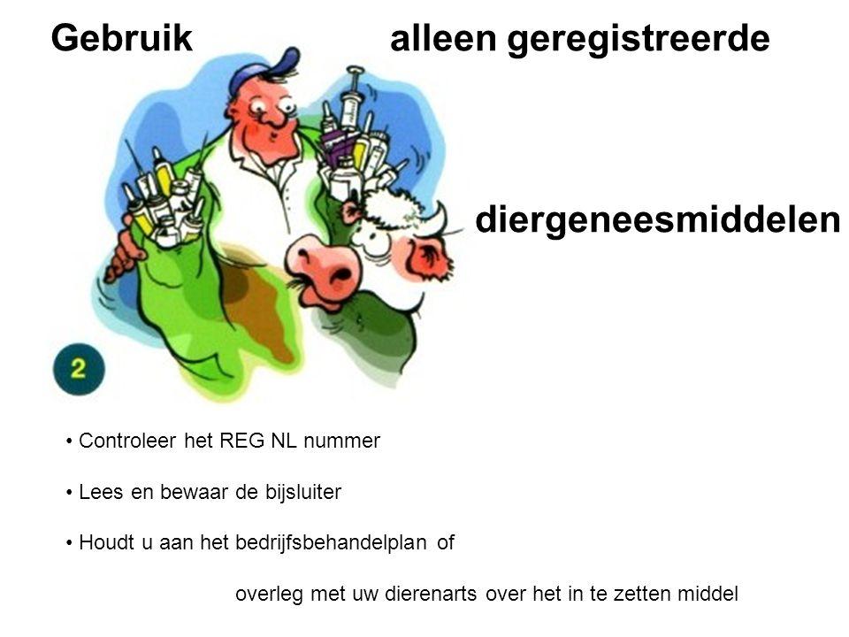 Controleer het REG NL nummer Lees en bewaar de bijsluiter Houdt u aan het bedrijfsbehandelplan of overleg met uw dierenarts over het in te zetten midd