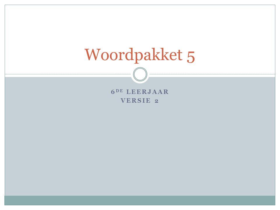 6 DE LEERJAAR VERSIE 2 Woordpakket 5