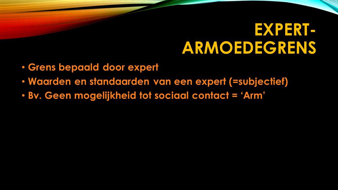 EXPERT- ARMOEDEGRENS Grens bepaald door expert Grens bepaald door expert Waarden en standaarden van een expert (=subjectief) Waarden en standaarden van een expert (=subjectief) Bv.