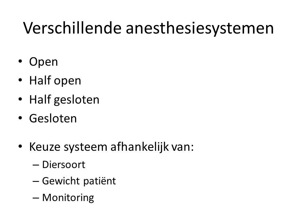 Verschillende anesthesiesystemen Open Half open Half gesloten Gesloten Keuze systeem afhankelijk van: – Diersoort – Gewicht patiënt – Monitoring