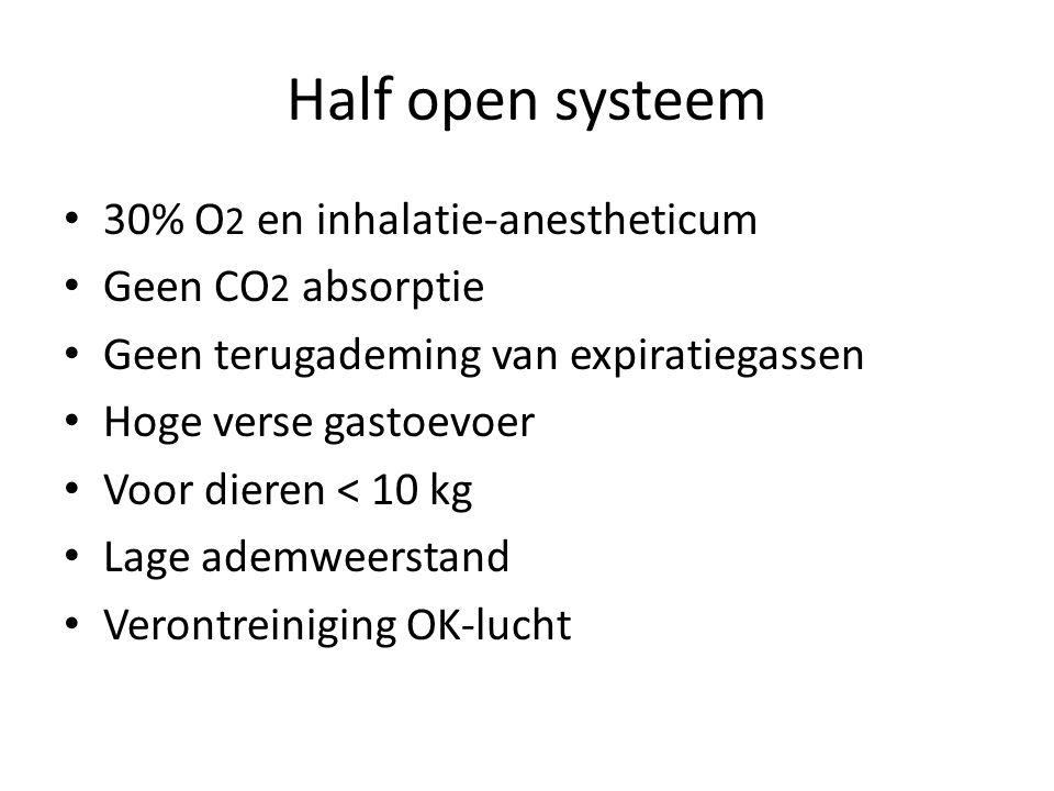 Half open systeem 30% O 2 en inhalatie-anestheticum Geen CO 2 absorptie Geen terugademing van expiratiegassen Hoge verse gastoevoer Voor dieren < 10 k