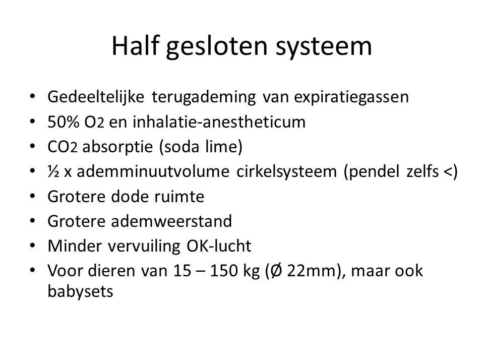 Half gesloten systeem Gedeeltelijke terugademing van expiratiegassen 50% O 2 en inhalatie-anestheticum CO 2 absorptie (soda lime) ½ x ademminuutvolume