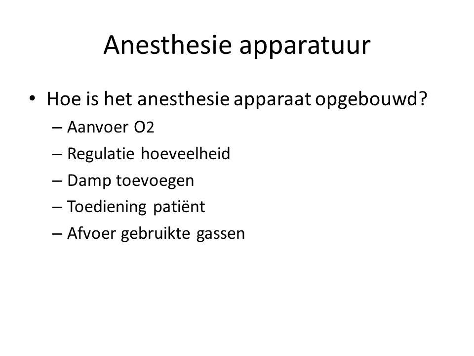 Anesthesie apparatuur Hoe is het anesthesie apparaat opgebouwd? – Aanvoer O 2 – Regulatie hoeveelheid – Damp toevoegen – Toediening patiënt – Afvoer g