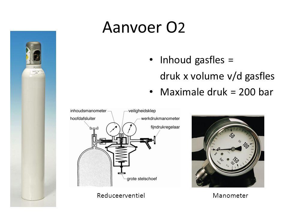 Aanvoer O 2 Inhoud gasfles = druk x volume v/d gasfles Maximale druk = 200 bar ReduceerventielManometer