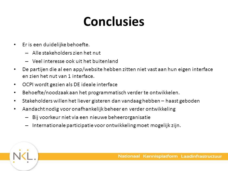 Conclusies Er is een duidelijke behoefte.