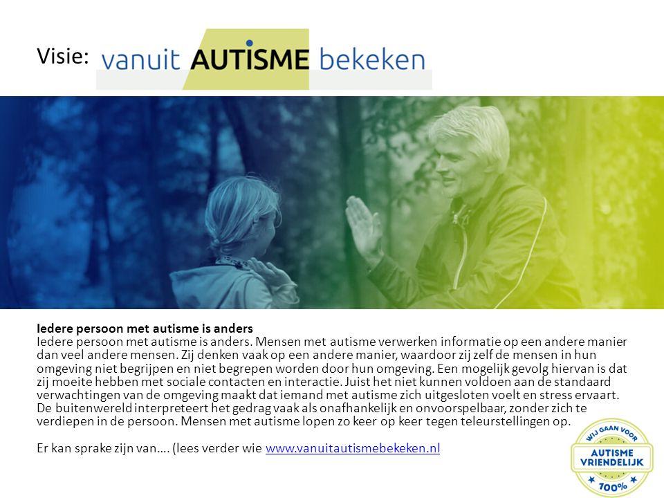 Visie: Iedere persoon met autisme is anders Iedere persoon met autisme is anders. Mensen met autisme verwerken informatie op een andere manier dan vee