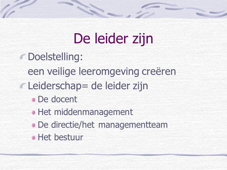 De leider zijn Doelstelling: een veilige leeromgeving creëren Leiderschap= de leider zijn De docent Het middenmanagement De directie/het managementteam Het bestuur