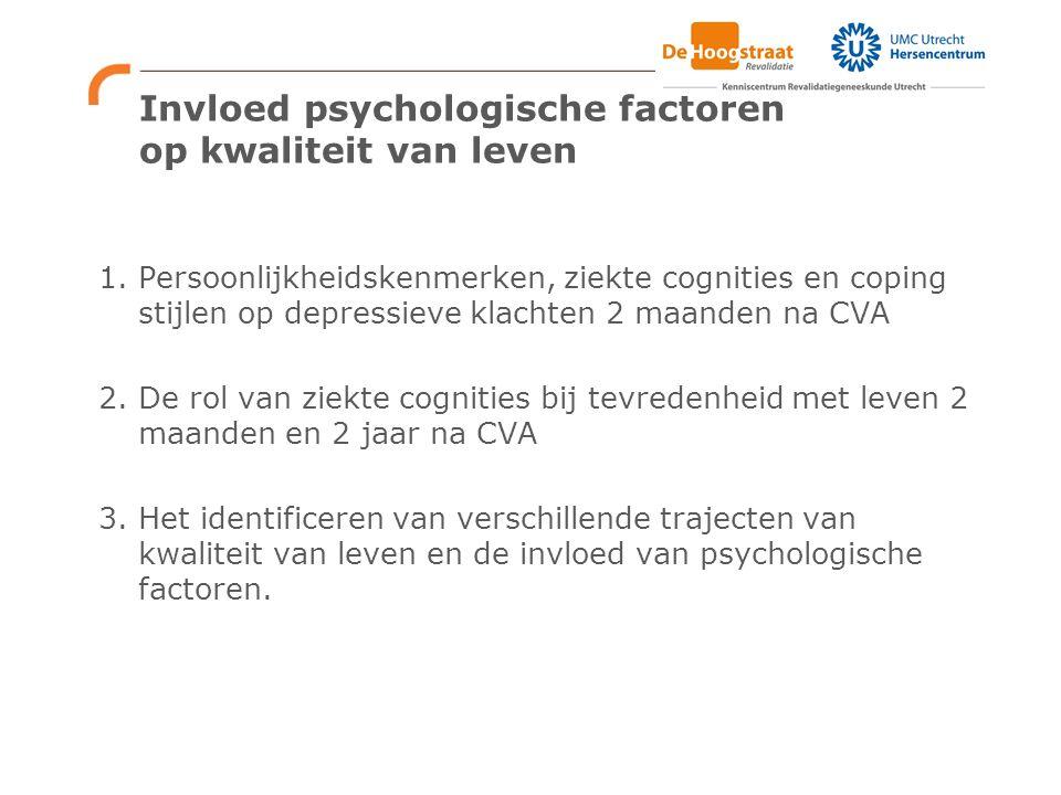 Invloed psychologische factoren op kwaliteit van leven 1. Persoonlijkheidskenmerken, ziekte cognities en coping stijlen op depressieve klachten 2 maan