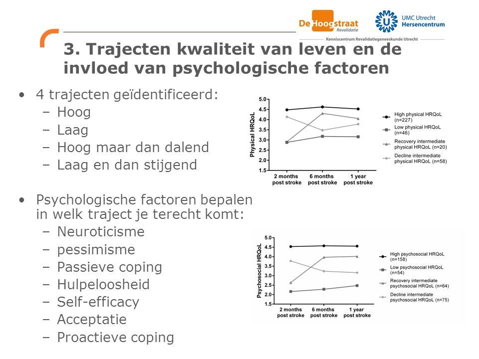 3. Trajecten kwaliteit van leven en de invloed van psychologische factoren 4 trajecten geïdentificeerd: –Hoog –Laag –Hoog maar dan dalend –Laag en dan