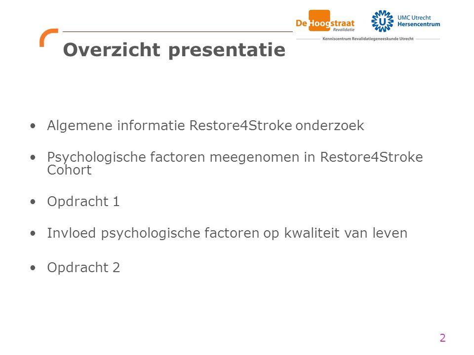 Overzicht presentatie 2 Algemene informatie Restore4Stroke onderzoek Psychologische factoren meegenomen in Restore4Stroke Cohort Opdracht 1 Invloed ps