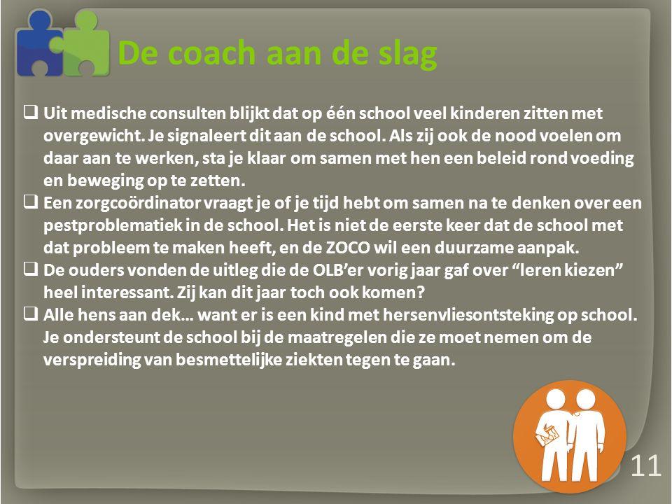 De coach aan de slag  Uit medische consulten blijkt dat op één school veel kinderen zitten met overgewicht.
