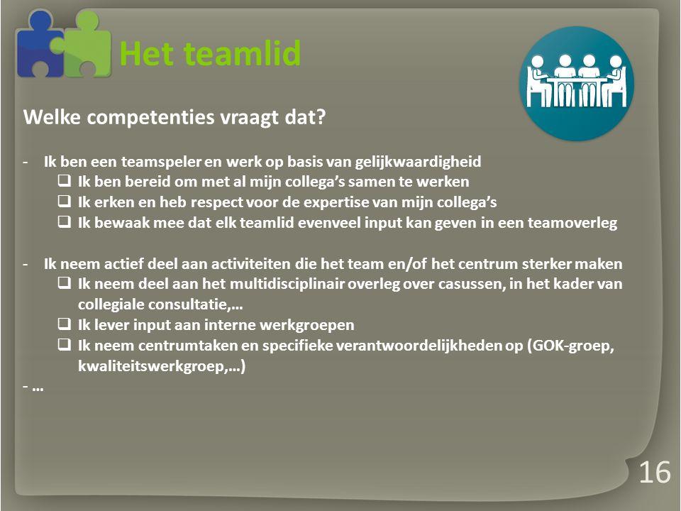 Het teamlid Welke competenties vraagt dat.