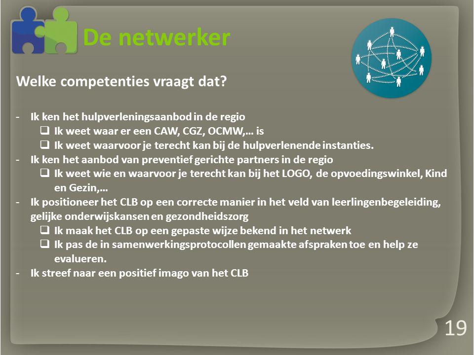 De netwerker Welke competenties vraagt dat.