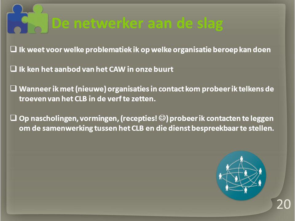 De netwerker aan de slag  Ik weet voor welke problematiek ik op welke organisatie beroep kan doen  Ik ken het aanbod van het CAW in onze buurt  Wanneer ik met (nieuwe) organisaties in contact kom probeer ik telkens de troeven van het CLB in de verf te zetten.
