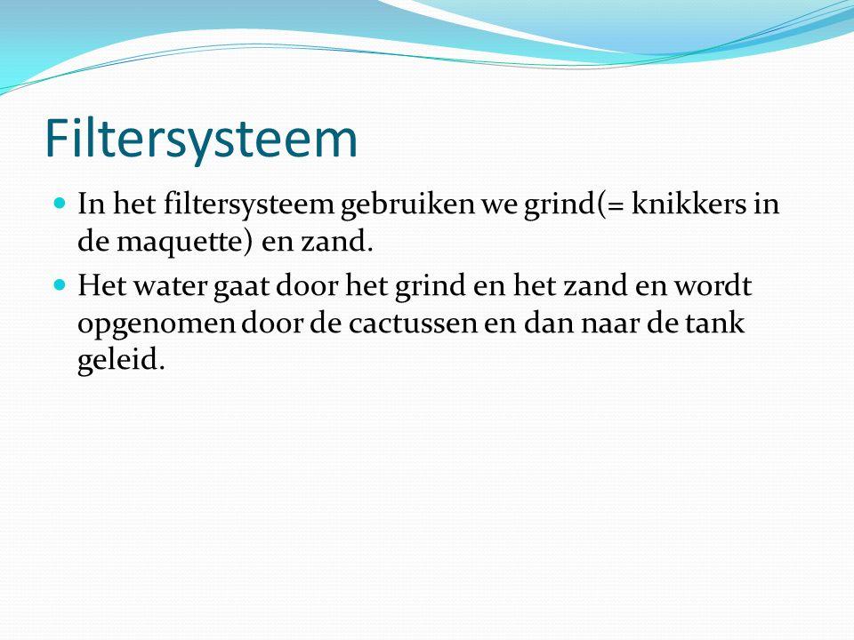 Filtersysteem In het filtersysteem gebruiken we grind(= knikkers in de maquette) en zand. Het water gaat door het grind en het zand en wordt opgenomen