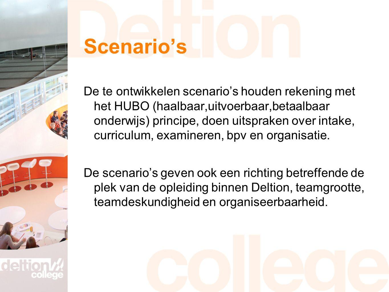 Scenario's De te ontwikkelen scenario's houden rekening met het HUBO (haalbaar,uitvoerbaar,betaalbaar onderwijs) principe, doen uitspraken over intake, curriculum, examineren, bpv en organisatie.