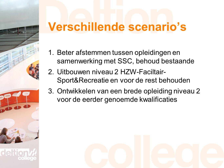 Verschillende scenario's 1.Beter afstemmen tussen opleidingen en samenwerking met SSC, behoud bestaande 2.Uitbouwen niveau 2 HZW-Faciltair- Sport&Recreatie en voor de rest behouden 3.Ontwikkelen van een brede opleiding niveau 2 voor de eerder genoemde kwalificaties