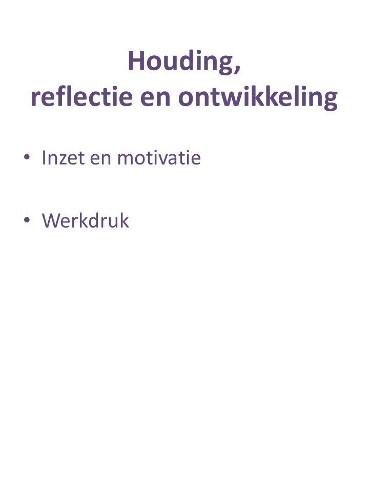 Houding, reflectie en ontwikkeling Inzet en motivatie Werkdruk
