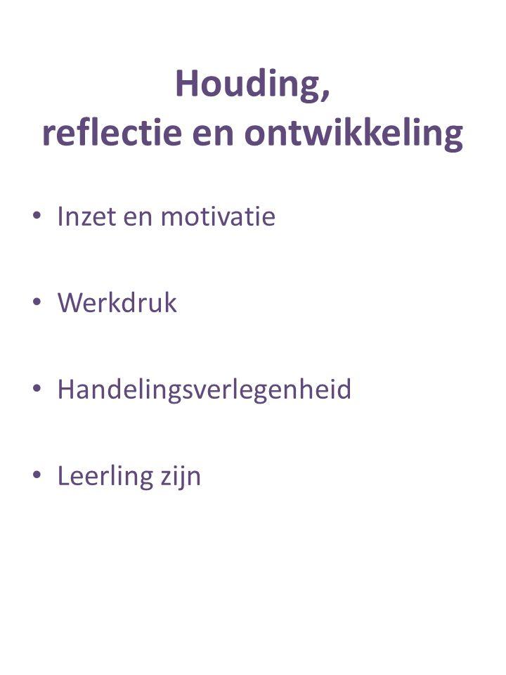 Houding, reflectie en ontwikkeling Inzet en motivatie Werkdruk Handelingsverlegenheid Leerling zijn