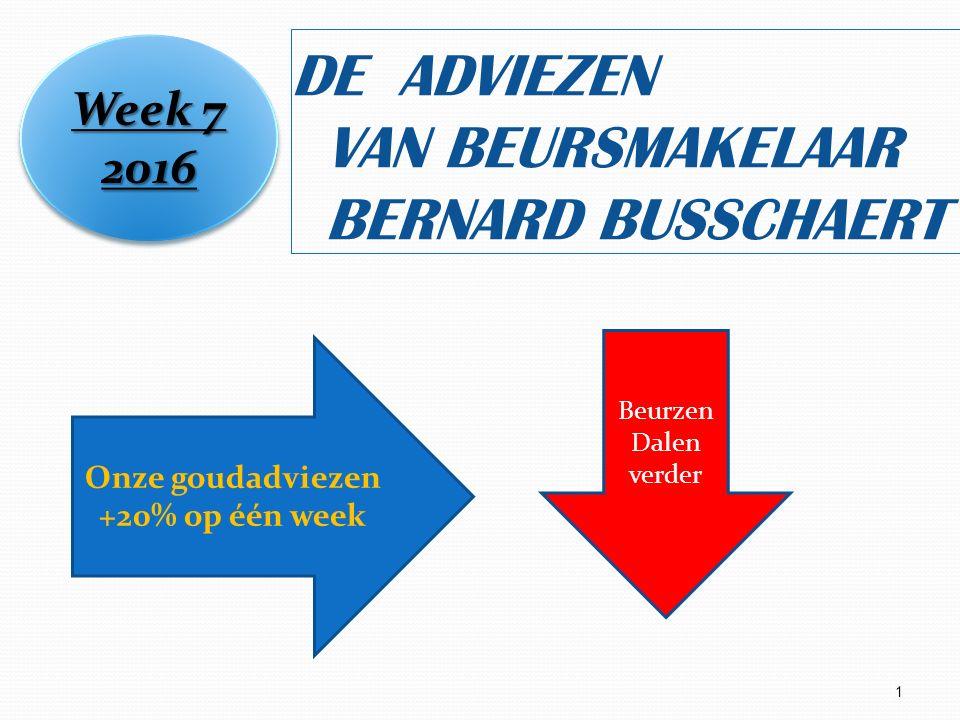 1 DE ADVIEZEN VAN BEURSMAKELAAR BERNARD BUSSCHAERT Week 7 2016 2016 Onze goudadviezen +20% op één week Beurzen Dalen verder