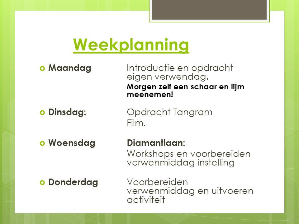 Weekplanning  Maandag Introductie en opdracht eigen verwendag. Morgen zelf een schaar en lijm meenemen!  Dinsdag: Opdracht Tangram Film.  Woensdag