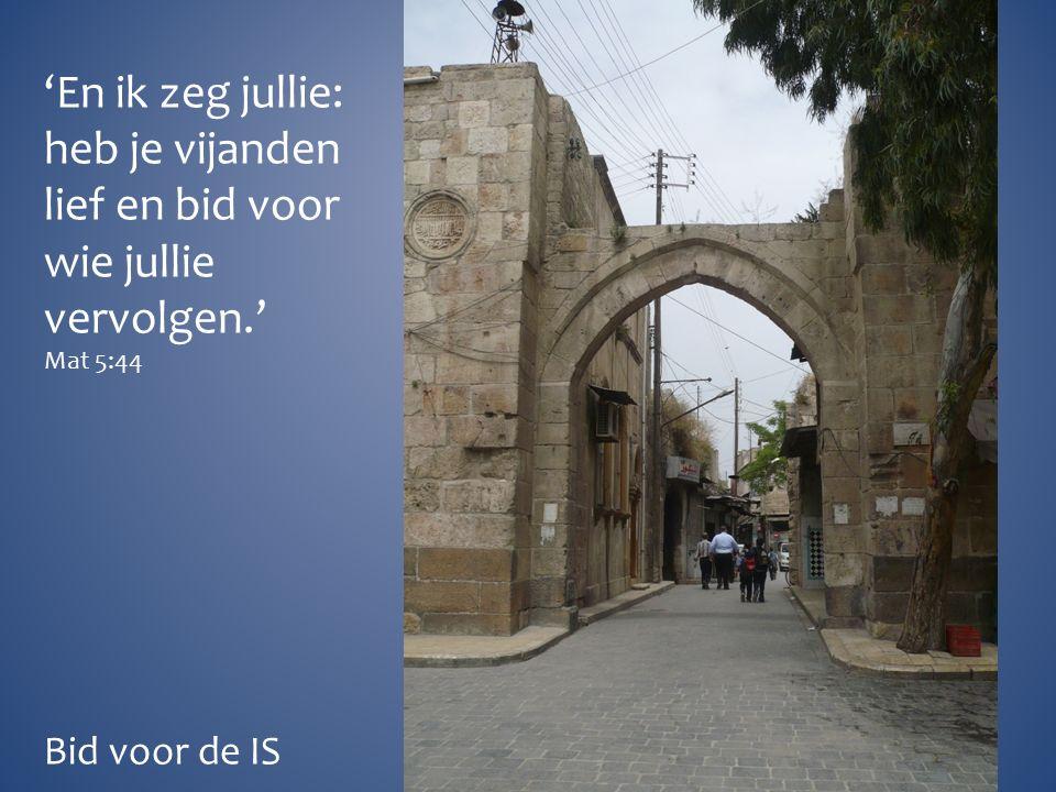'En ik zeg jullie: heb je vijanden lief en bid voor wie jullie vervolgen.' Mat 5:44 Bid voor de IS