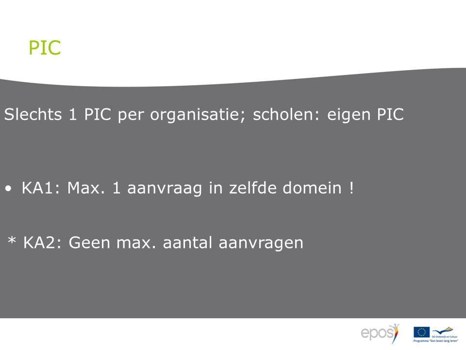 PIC KA1: Max. 1 aanvraag in zelfde domein .