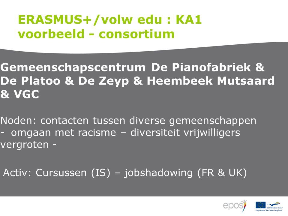 ERASMUS+/volw edu : KA1 voorbeeld - consortium Gemeenschapscentrum De Pianofabriek & De Platoo & De Zeyp & Heembeek Mutsaard & VGC Noden: contacten tussen diverse gemeenschappen -omgaan met racisme – diversiteit vrijwilligers vergroten - Activ: Cursussen (IS) – jobshadowing (FR & UK)